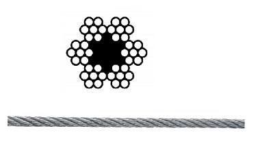 Drahtseile Stahl mit 1 Fasereinlage verzinkt 6x7M-FC DIN 3055
