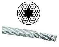 Drahtseile Stahl mit 1 Fasereinlage verzinkt 6x7M-FC mit PVC Mantelung DIN 3055